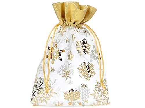 10 Organzabeutel, Organzasäckchen in Weiß mit Goldener Bordüre und aufgedruckten Schneekristallen, Weihnachtsbeutel, Geschenkverpackung, Dekoration, Adventskalender, Geschenksäckchen, Gold (30x20cm)