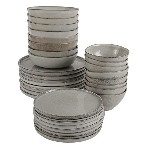 ProCook Oslo Stoneware Dinner Set - Oatmeal Grey - 32 Piece - Dinner Plates, Side Plates, Pasta Bowls and Cereal Bowls with Distinctive Hand-Crafted Style for 8 Table Settings