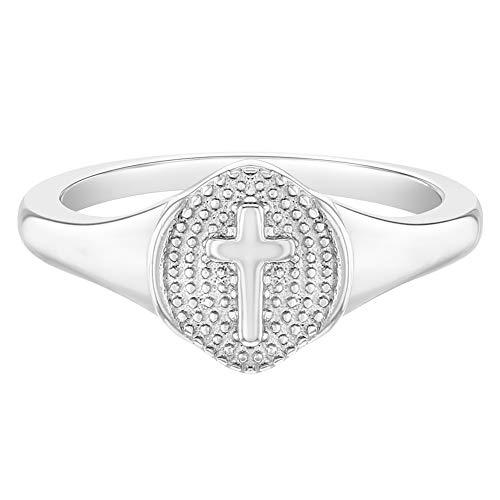 In Season Jewelry Plata Fina 925 Anillo en Forma de Cruz Tamaño 2 para Niñas Pequeñas