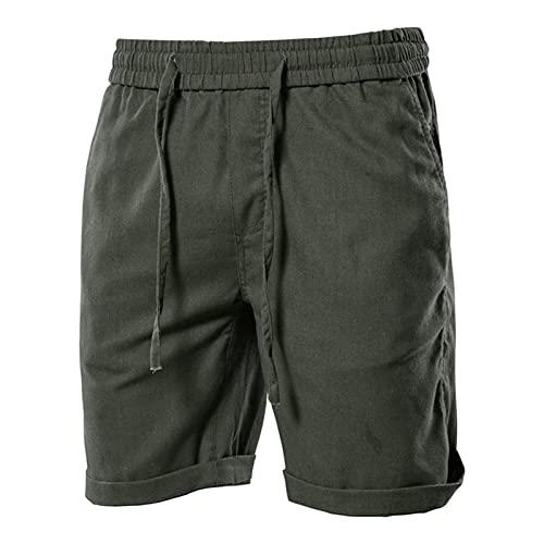 LSTGJ Pantalones Cortos para Hombre De Algodón para Hombre De Verano Pantalones Cortos para Hombres para Hombres Nuevos Pantalones Cortos De Tablero De Playa Hombres (Color : Army Green, Size : 31W)