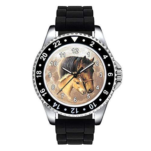 Timest - Caballo con el Potro - Unisex Reloj con Correa de Silicona Negro Analógico Cuarzo CSE024SB
