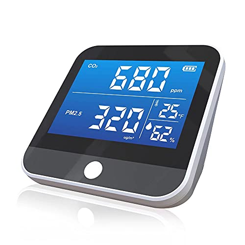 Air Quality Monitor Indoor, CO2 Detector, 6-in-1 Air Pollution Carbon Dioxide Detector with pm2.5/1/10, Temperature, Humidity Professional Sensor Real Time Reading, CO2 Alarm Meter