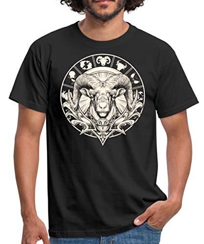 Sternzeichen Aries Sketch Widder Kreis Rahmenlos Geburtstags Star Symbol Gift Geschenk Männer T-Shirt, M, Schwarz