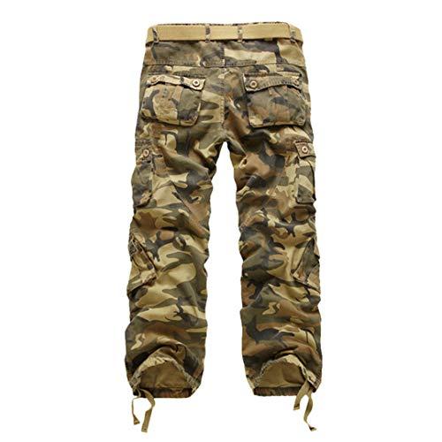 Oinrenstkp Herren Military Straight Hosen Cotton Camo Multi-Pocket Pants Jogger Long Trouers Camouflage Yellow 30