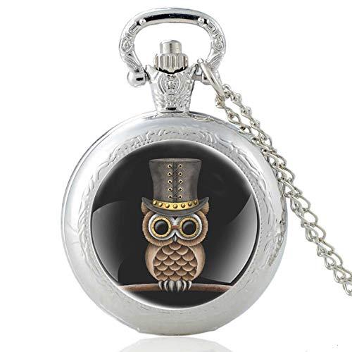 Novedades Reloj de Bolsillo de Cuarzo con cabujón de Cristal de búho Vintage Hombres Mujeres Negro Colgante Collar Cadena Horas Reloj Plata