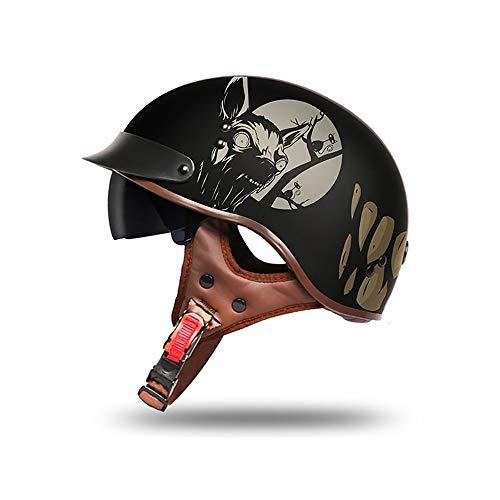 Harley Half Helmet Retro Open Face Best Moped Scooter Bobber Cruiser Chopper Biker Skull Cap Racing Helmet for Men and Women DOT Approved