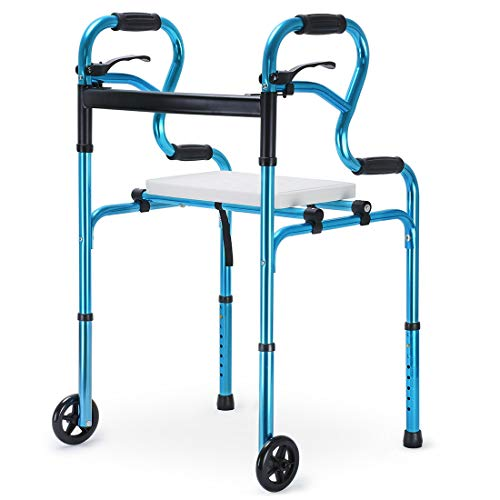 Health Line Massage Products 4 in 1 Stand-Assist Folding Walker with Detachable Seat, Trigger Release and 5 inch Wheels Supports up to 350 lbs, Compact Lightweight & Portable with Glides, Blue