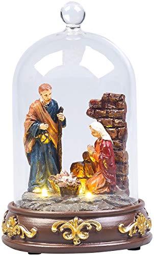 Lunartec Dekoration: Weihnachtskrippe mit Glasglocke und LED-Beleuchtung, handbemalt (Krippenbeleuchtung)