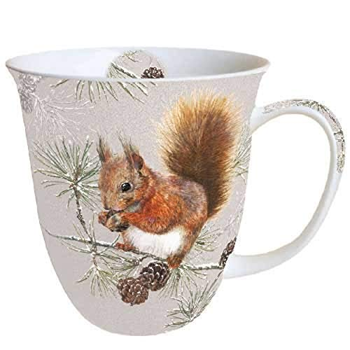 Porzellanbecher Squirrel in Winter Eichhörnchen Becher Bone China 0,4l Kaffeebecher Weihnachten