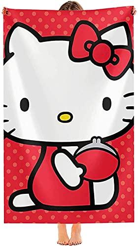 NFBZ Toalla de playa Hello Kitty con impresión 3D Anime Super Absorbent Summer Beach Towel-Cartoons...