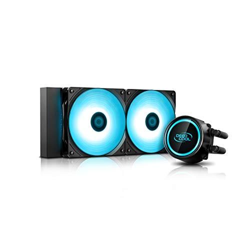 DEEP COOL GAMMAXX L240T Raffreddatore di Liquido AIO Blu, LED Blu su waterblock e Ventola, Tecnologia Anti-perdite all'Interno, Compatibile AM4, Garanzia di 3 Anni