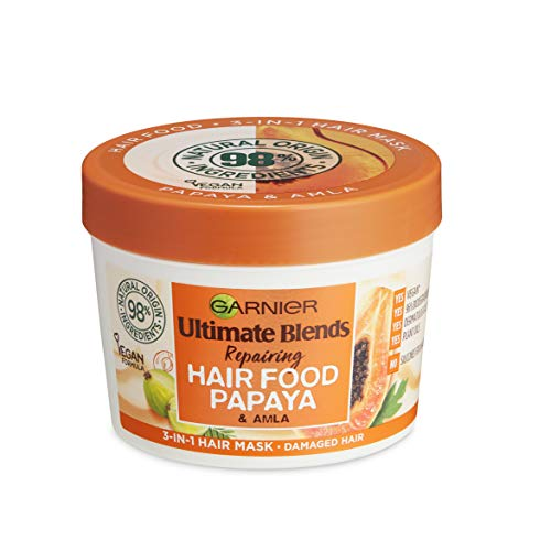 Garnier Hair Mask for Dry Damaged Hair | Papaya Hair Food by Garnier Ultimate Blends | 3-in-1: Conditioner, Hair Mask, Leave-in Hair Conditioner |98% Natural Origin | 390 ml