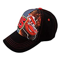 Disney Little Boys' Cars Lightning McQueen Character Cotton Baseball Cap, black/Red, Ages 4-7