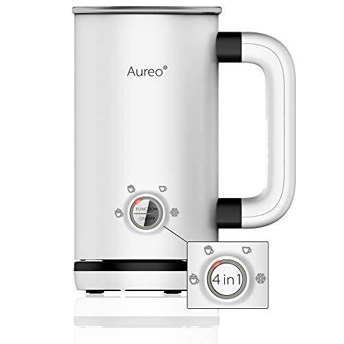 Aureo Elektrischer Milchaufschäumer in Weiß - Milchschäumer mit 4 Funktionen für warmen und kalten Milchschaum I Milchschaummaschine Milchheizer
