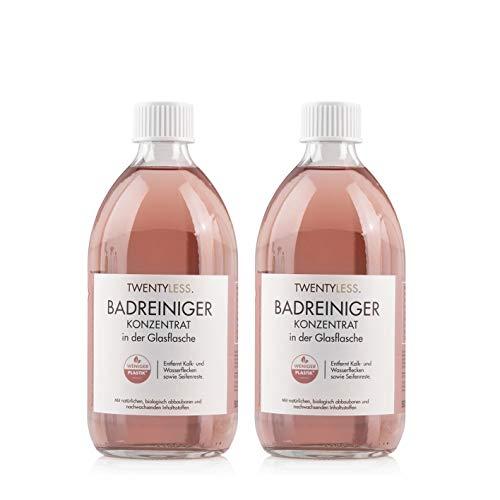 Twentyless Badreiniger 2er-Nachfüllset | Natürliches und ergiebiges Reinigungskonzentrat, Reinigungsmittel | 2 Glasflaschen je 500ml ersetzen 40 Plastikflaschen
