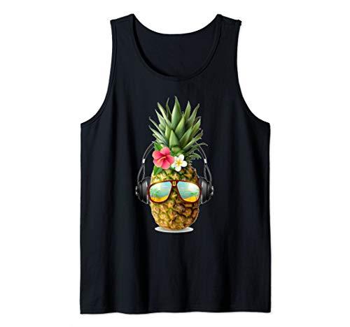 Dj Pineapple With Headphones and Sunglasses Tank Top