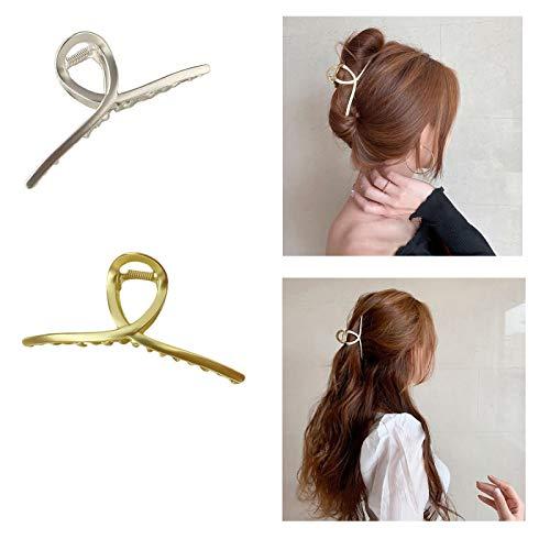 2PCS Einfache Kopfschmuck Metall Haarnadel, Damen Geometrische Haarspangen, Metall Haarschmuck Kopfschmuck, Vintage Metallklammern Dumb gold + dumb silver.