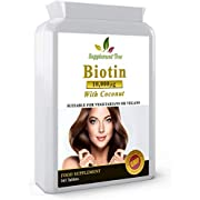 Biotin 10,000mcg 365 Tablets (1 Year Supply) | with Added Coconut Oil Powder | Hair Growth Supplement for Men & Women | UK Manufactured | Vegans Friendly