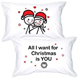 BoldLoft Merry Christmas Couples Pillowcases for Couples- Christmas Pillow Covers for Girlfriend Boyfriend Husband Wife Couples Gifts for Christmas- Set of 2 His and Hers Pillowcases