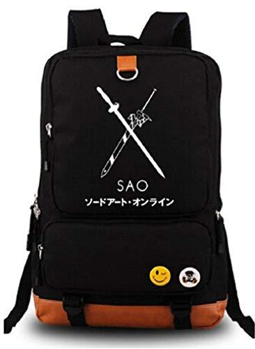 Cosstars Anime Sword Art Online SAO Leuchtend Rucksack Schulrucksack Backpack Daypack Schultasche Schwarz Blau