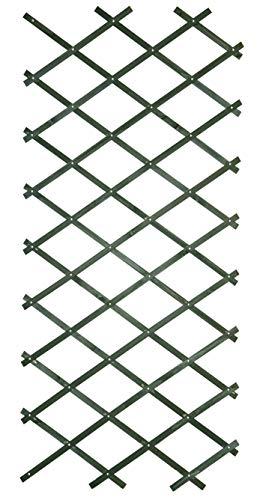 1.8m x 0.3m Green Riveted Garden Wall Trellis - Wooden Expanding Diamond Trellis Supports