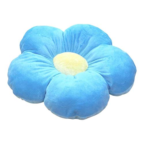 Knowooh Blumen Bodenkissen für Kinder, Weiches Sitzkissen Karikatur Plüsch Spielzeug Dekorativ Pillow für Haus und Garten, 50CM, Blau