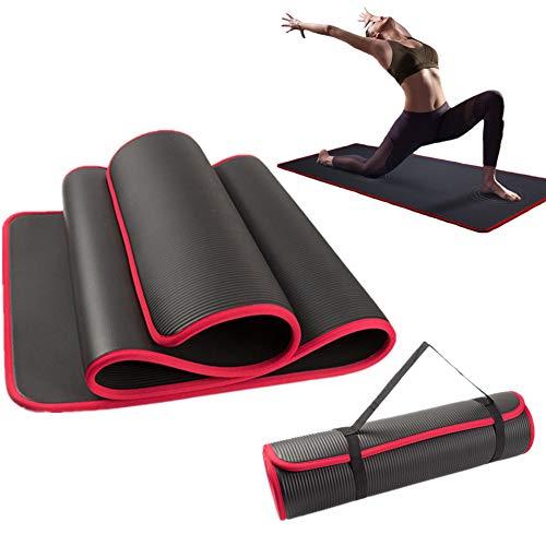 Racev Yoga Mats Jogamatte Übungsmatte dick Fitnessmatten rutschfest Yogamatten für Männer Trainingsmatten für das Heim-Fitnessstudio Gym Matt für zu Hause Black,1cm