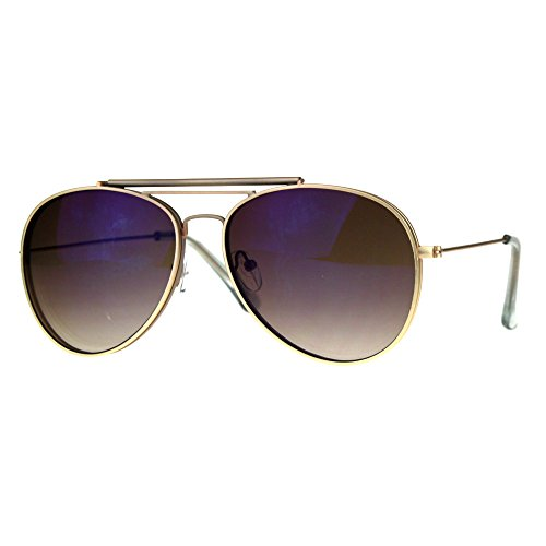 Mens Color Flip Up Lens Metal Rim Pilots Sunglasses Gold Reflective Brown