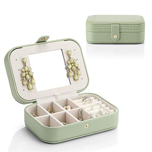 Caja Joyero Pequeña, Joyero de Viaje Cajas para Joyas Jewelry Organizer para Mujer, para Anillos, Aretes, Pendientes, Pulseras y Collares
