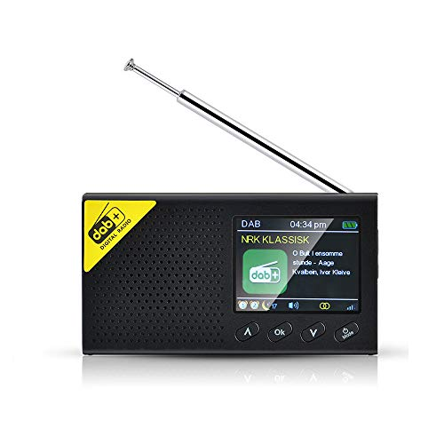 INDMEM DAB+ DAB Radio FM portatile con Bluetooth, radio digitale con batteria, schermo a colori, radiosveglia digitale