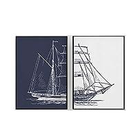 ブルーグレイリーラインボートデッサン北欧ポスター風景キャンバス絵画インテリアミニマリスト壁アートパネル画像モダンなリビングルームの家の装飾50x70cmx2フレームなし