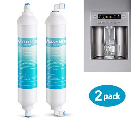 """ilauke 2 x Wasserfilter für Samsung Aqua Pure Plus LG AEG Ersatz Externer Kühlschrank Wasser Filter mit 4x 1/4\""""Universal Anschlussset"""