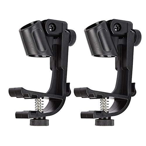 Drum Mircophone Clips Adjustable Mic Mount Snare Rim Clamp Holder, Black 2 Packs
