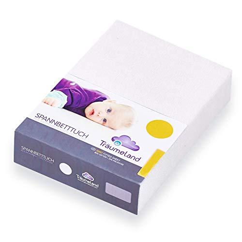 Träumeland Spannbetttuch für Laufgittermatratzen Jersey weiß 100x100 2er Pack