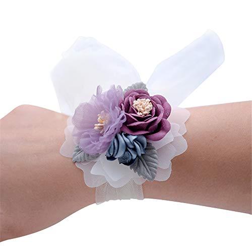 Florashop Lavender Purple Wrist Corsage 2 Pcs Set Satin Rose Wedding Bridal Corsage Bridesmaid Wrist Flower Corsage Flowers Wristband for Wedding Prom Party Homecoming Graduation Dancing
