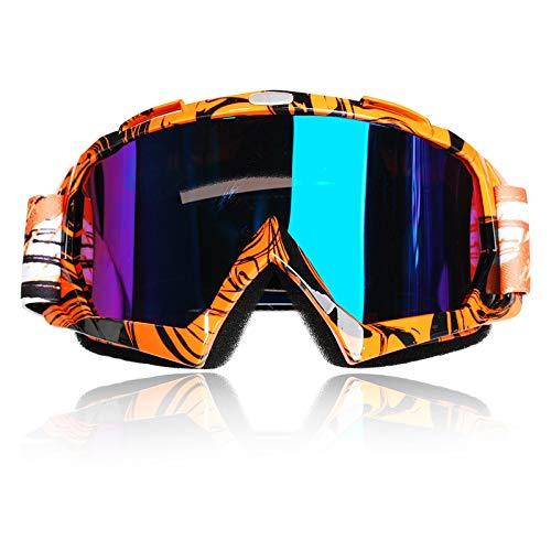 Occhiali da Motocross,Moto Anti Vento Polvere UV Dirt Bike Racing Equitazione Ciclismo Sci Occhiali da esterno Occhiali per giovani adulti(Montatura arancione + lente colorata)