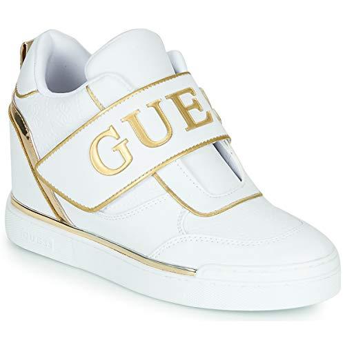 Scarpe donna Guess sneaker alto modello Follie con strap velcro ecopelle bianco