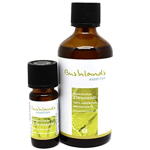 Bushlands essentials Zitronenöl (Citrus limonum) 100ml + 10ml Reiseflasche - 100prozent naturreines, italienisches ätherisches Öl