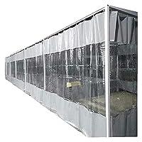 透明カーテン、0.5mm PVC 防水カーテン、穴あき付き インストールが簡単 庭、テラス、バルコニー、パーゴラ用 KUAIE (Color : Clear Gray, Size : 1.9x2.5m)