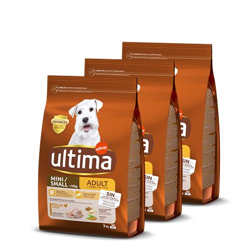 Ultima Pienso para Perros Adultos Mini con Pollo - 3 x 3kg: Total 9kg