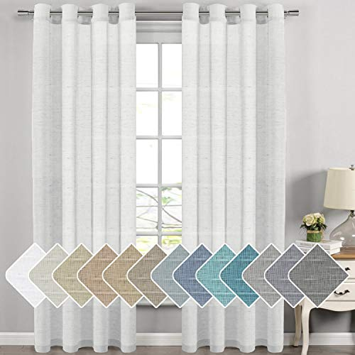 Extra Long Linen Curtains Window Treatments for Living Room / Rich Linen Sheer Curtain Panels and Drapes, Classic Nickel Grommet Extra Long Curtains, 52 by 108 Inch, 2 Panels