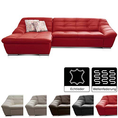 Cavadore Leder-Sofa Lucas / Eck-Couch in Echtleder mit Steppung / Longchair links / Größe: 287 x 81 x 165 (BxHxT) / Leder rot