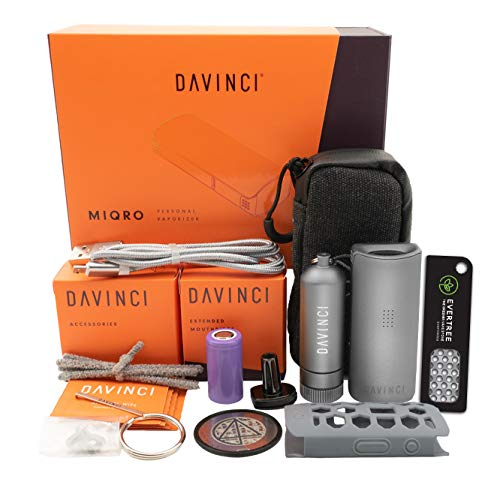 DaVinci MIQRO Dry Herb Vaporizer - Explorers Collection + Evertree Grinder Card… (Grey)
