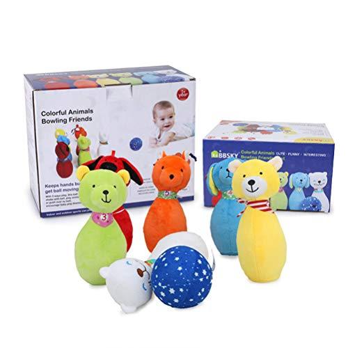 Gobbuy Bowling Plüsch Ball Spielzeug Set Plüschtiere Mädchen und Jungen Baby Bunte Tiere Plüsch Spielzeug Geburtstagsgeschenke, 7 Stück