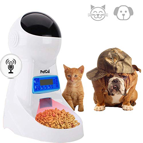 PetCul Automatic Cat Feeder 3L Pet Food Dispenser Feeder for Medium & Large Cat Dog——4 Meal, Voice Recorder & Timer Programmable, Portion Control