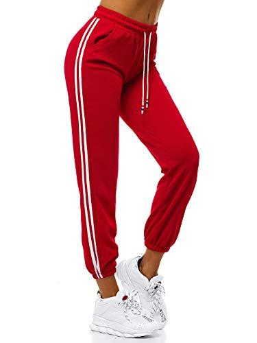 OZONEE Damen Jogginghose Hose Trainingshose Sporthose Freizeithose Motiv Damenhose Fitnesshose Sweatpants Sweathose Fußballhose Joggpants 777/9351S/A5 ROT M
