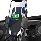 Merle kum Qi Wireless Car Charger,Smart Sensor Auto Clamping Automatic Phone Holder Fast Charging Car Mount Compatible for 4'' to 6.5'' Cell Phone Other Qi-Enabled Devices