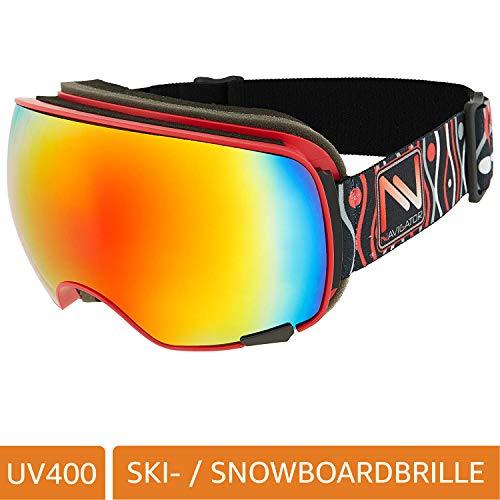 NAVIGATOR VISION skibril en snowboardbril met 2 verwisselbare lenzen, unieke AntiFog-coating en UVA-bescherming, wintersportbril met spiegelglazen en innovatieve lensventilatie