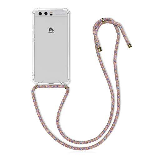 kwmobile Funda con Cuerda Compatible con Huawei P10 - Carcasa Transparente de TPU con Cuerda para Colgar en el Cuello