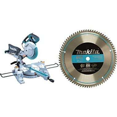 Makita LS1018 Dual-Bevel Slide Compound Miter Saw, 10-Inch with 10-Inch 80 Tooth Micro Polished Mitersaw Blade